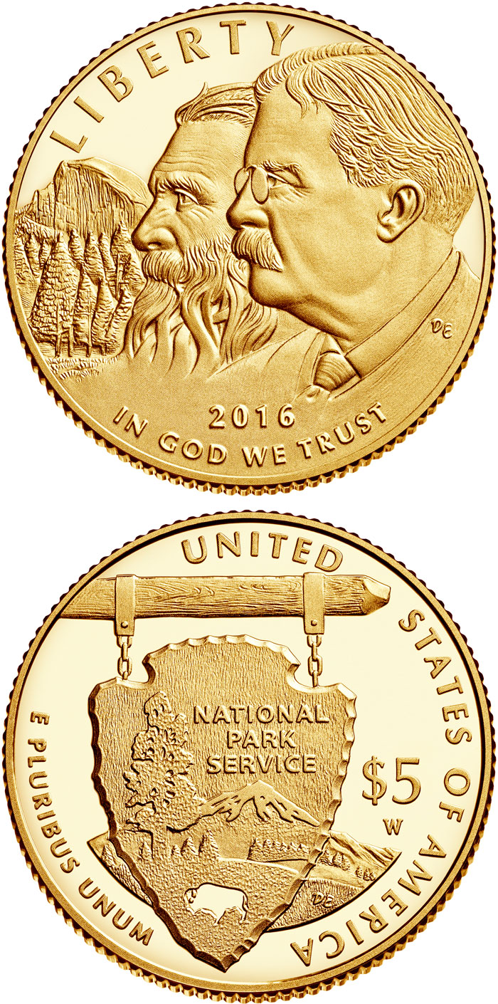 Image of 5 dollars coin - National Park Service 100th Anniversary  | USA 2016.  The Gold coin is of Proof, BU quality.