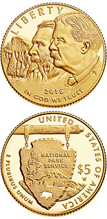 5 dollar coin National Park Service 100th Anniversary  | USA 2016