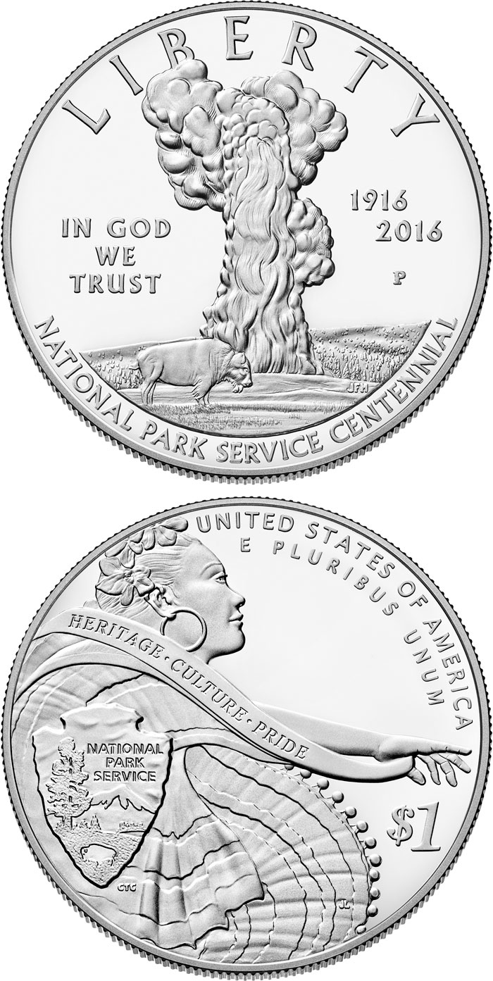 Image of 1 dollar coin - National Park Service 100th Anniversary  | USA 2016.  The Silver coin is of Proof, BU quality.