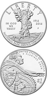 1 dollar National Park Service 100th Anniversary  - 2016 - Series: Commemorative silver 1 dollar coins - USA