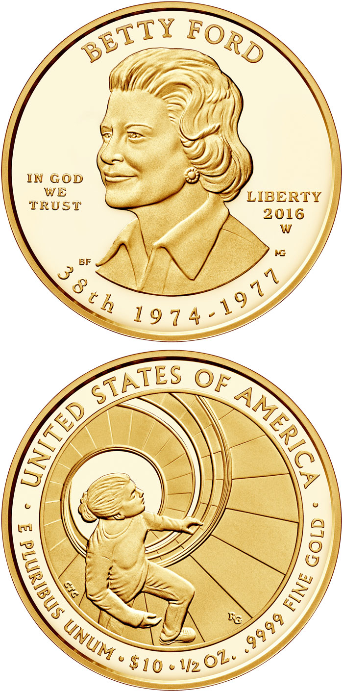Image of 10 dollars coin - Betty Ford | USA 2016.  The Gold coin is of Proof, BU quality.