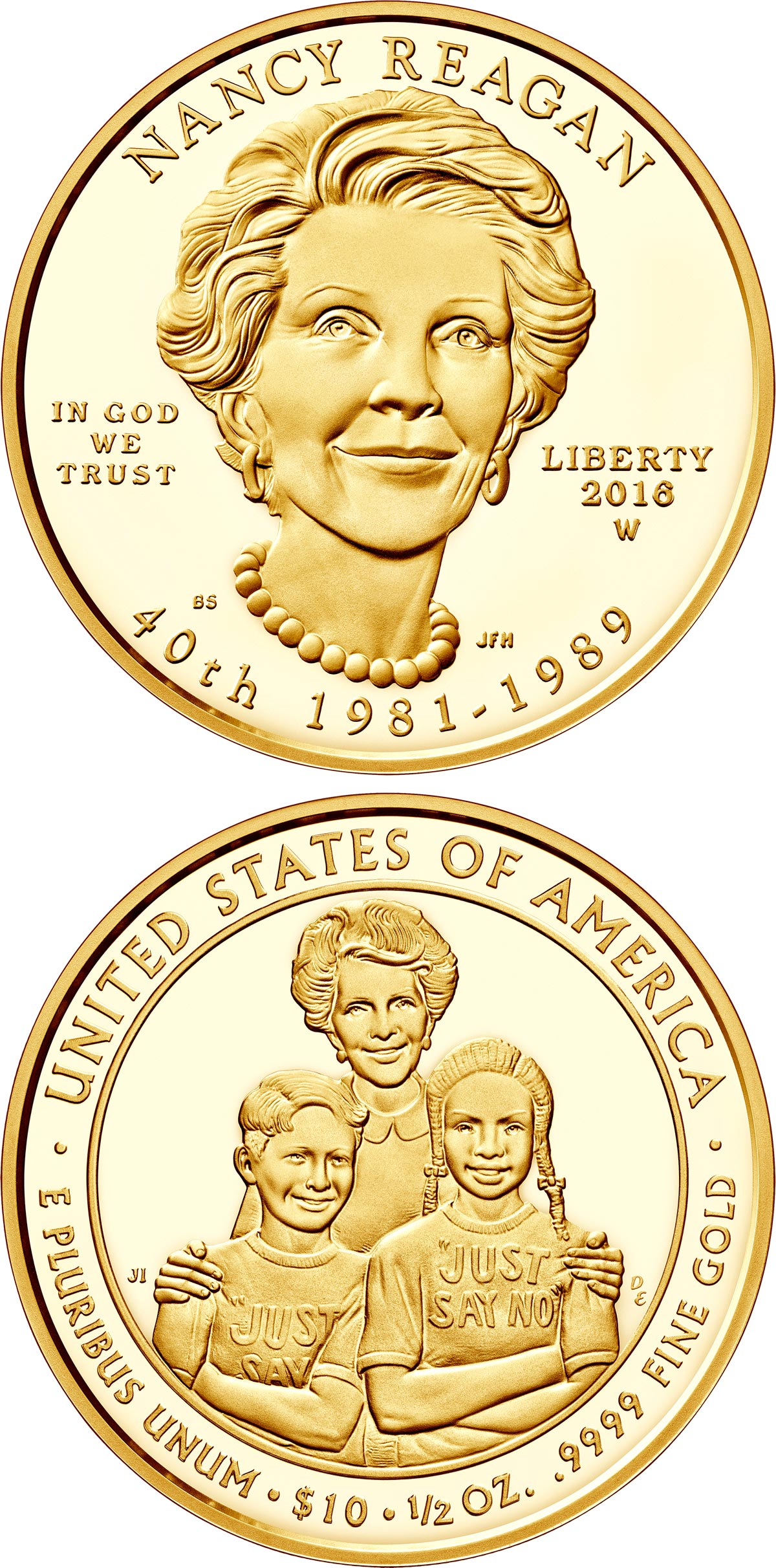 Image of 10 dollars coin - Nancy Reagan  | USA 2016.  The Gold coin is of Proof, BU quality.