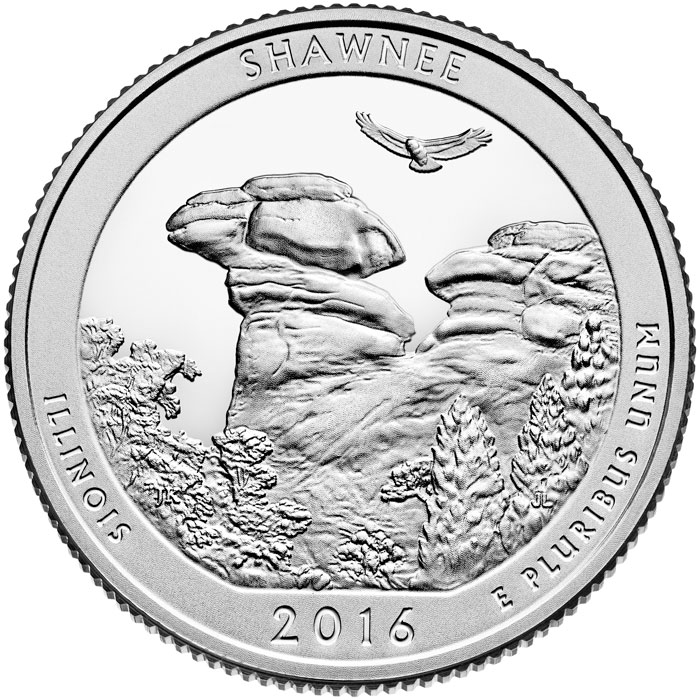 Image of 25 cents coin - Shawnee National Forest | USA 2016.  The Copper–Nickel (CuNi) coin is of Proof, BU, UNC quality.