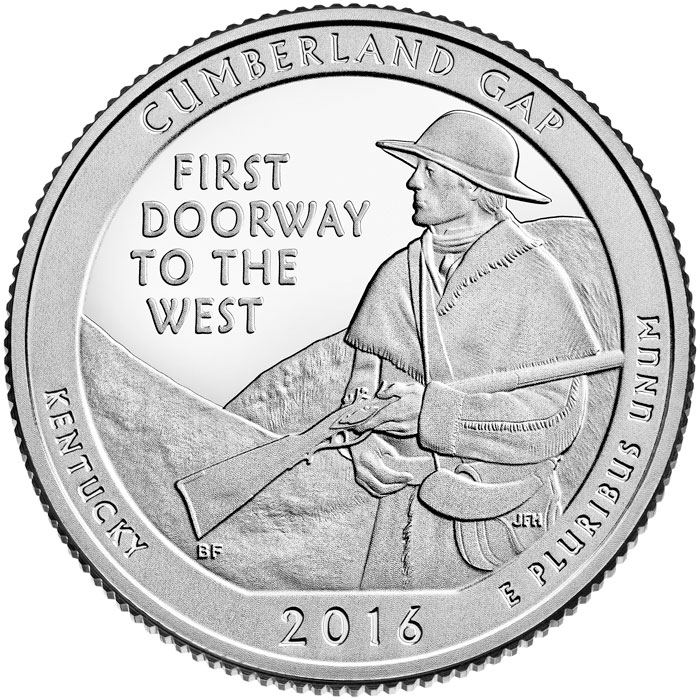Image of Cumberland Gap National Historical Park – 25 cents coin USA 2016.  The Copper–Nickel (CuNi) coin is of Proof, BU, UNC quality.