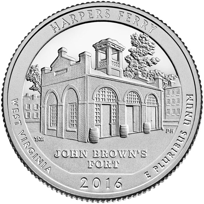 Image of 25 cents coin - Harpers Ferry National Historical Park | USA 2016.  The Copper–Nickel (CuNi) coin is of Proof, BU, UNC quality.