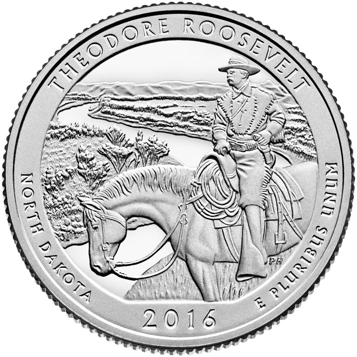 Image of Theodore Roosevelt National Park – 25 cents coin USA 2016.  The Copper–Nickel (CuNi) coin is of Proof, BU, UNC quality.