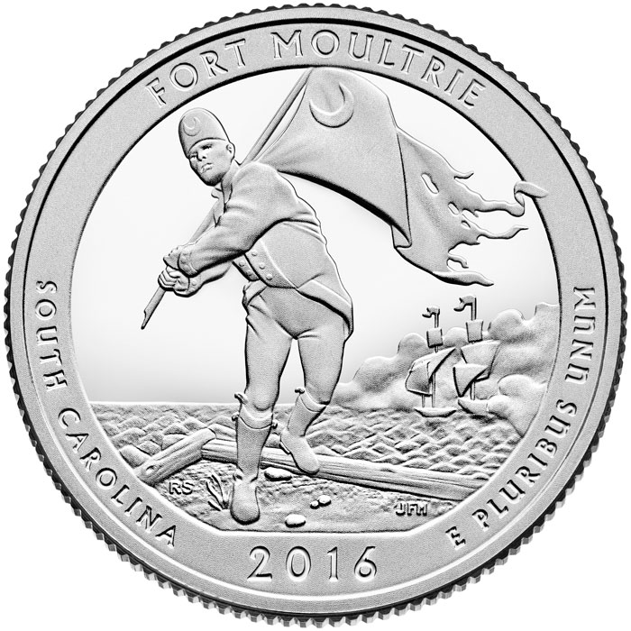 0.25 cents Fort Moultrie at Fort Sumter National Monument  - 2016 - Series: America the Beautiful Quarters - USA