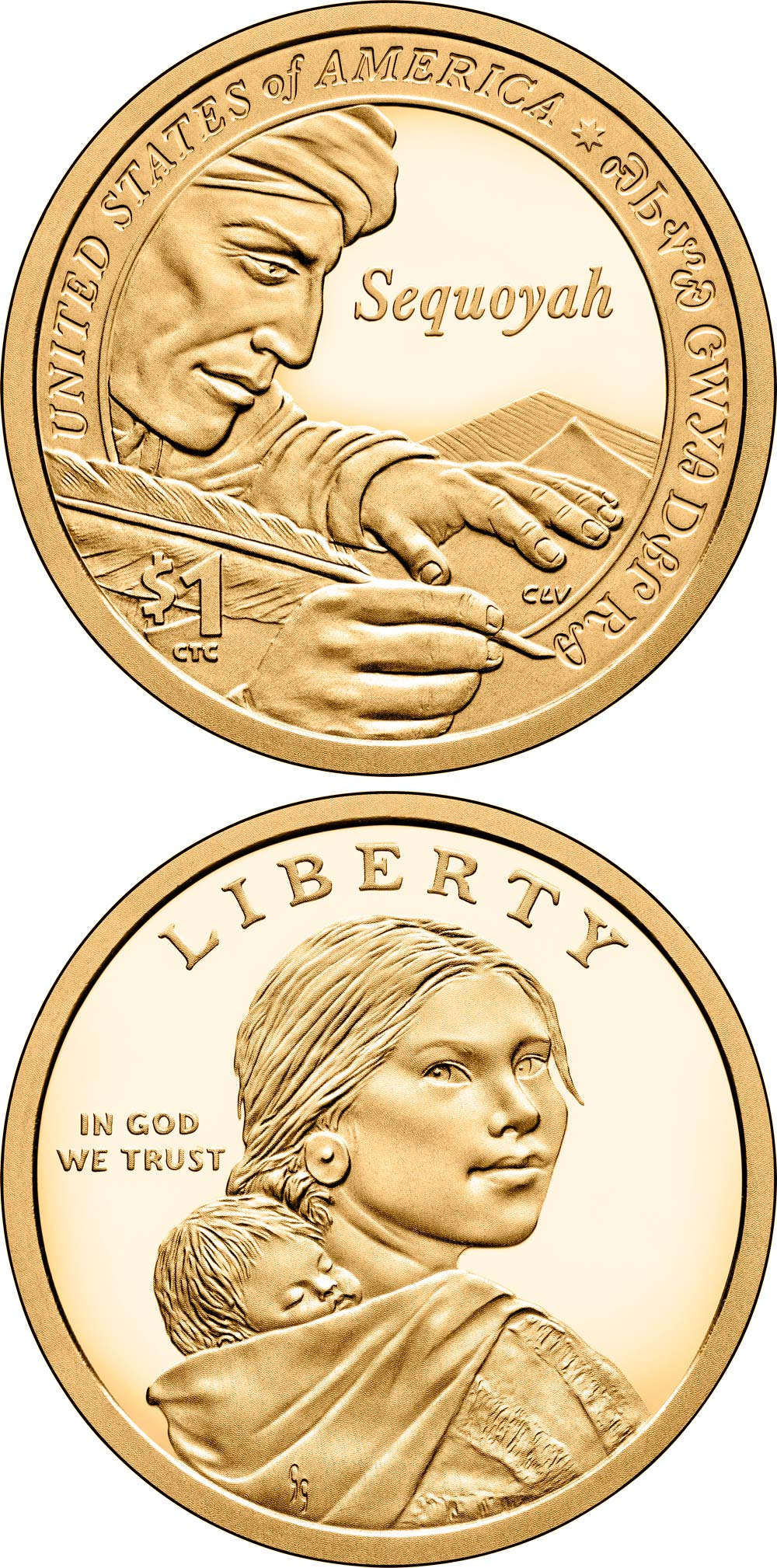 Image of 1 dollar coin - Sequoyah, inventor of the Cherokee Syllabary | USA 2017.  The Nordic gold (CuZnAl) coin is of Proof, UNC quality.