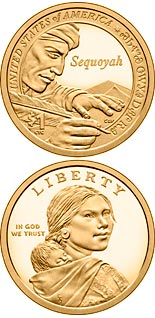 1 dollar coin Sequoyah, inventor of the Cherokee Syllabary | USA 2017