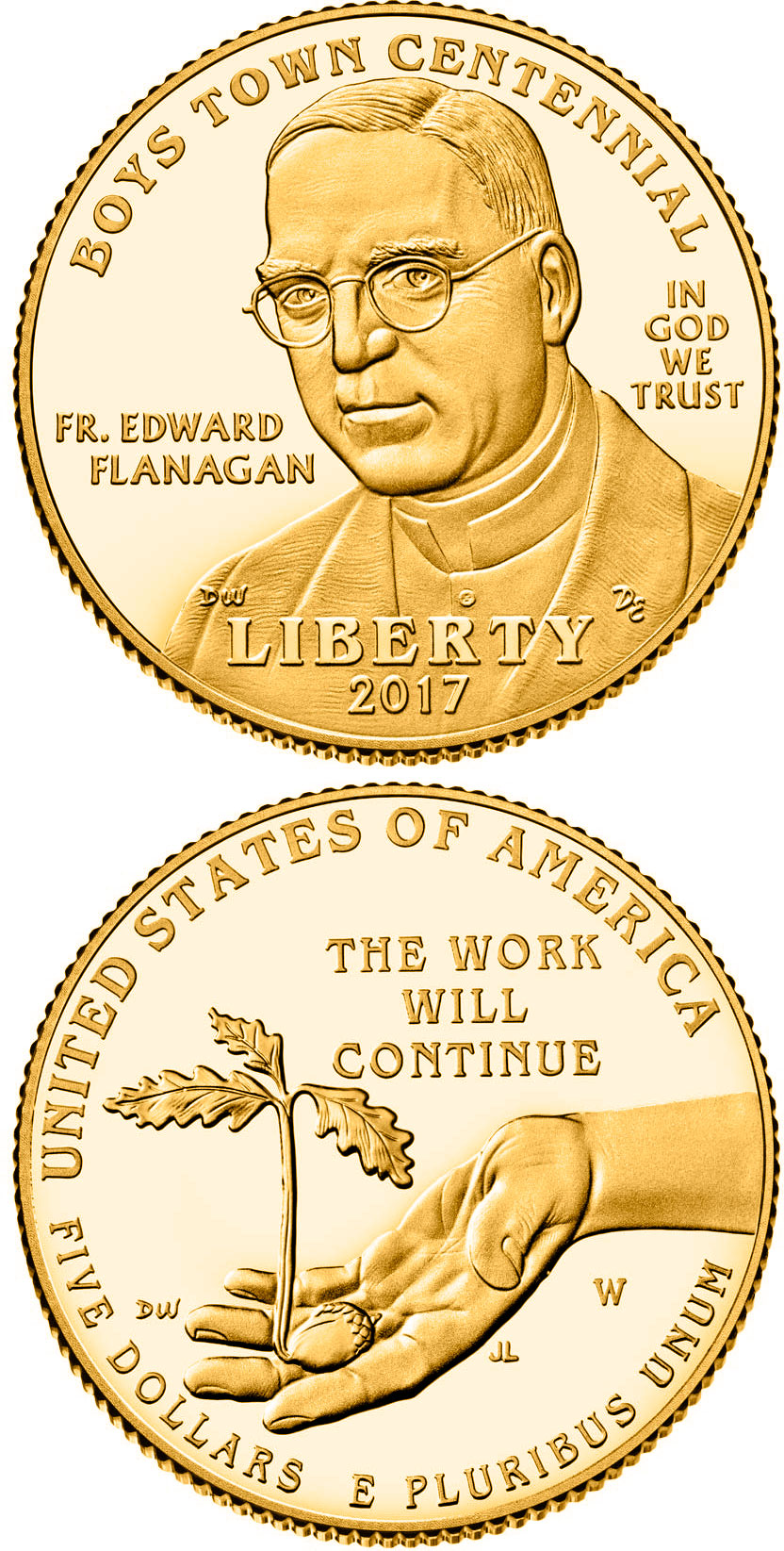 Image of 5 dollars coin – Boys Town Centennial | USA 2017.  The Gold coin is of Proof, BU quality.