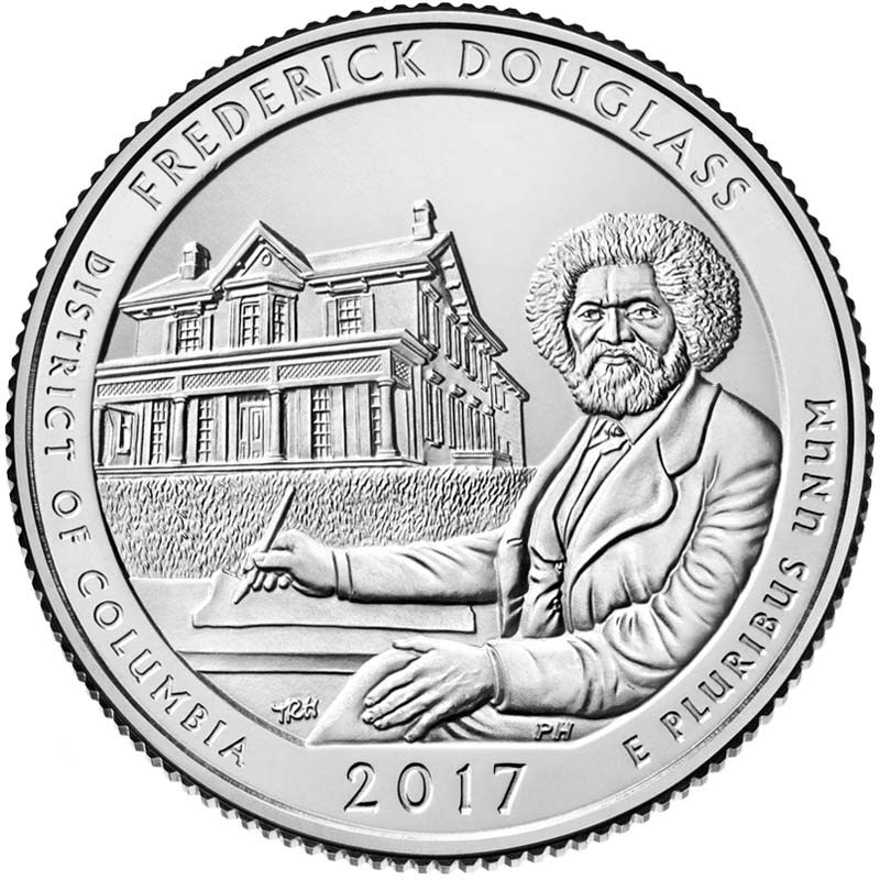 Image of 25 cents coin - Frederick Douglass National Historic Site | USA 2017.  The Copper–Nickel (CuNi) coin is of Proof, BU, UNC quality.