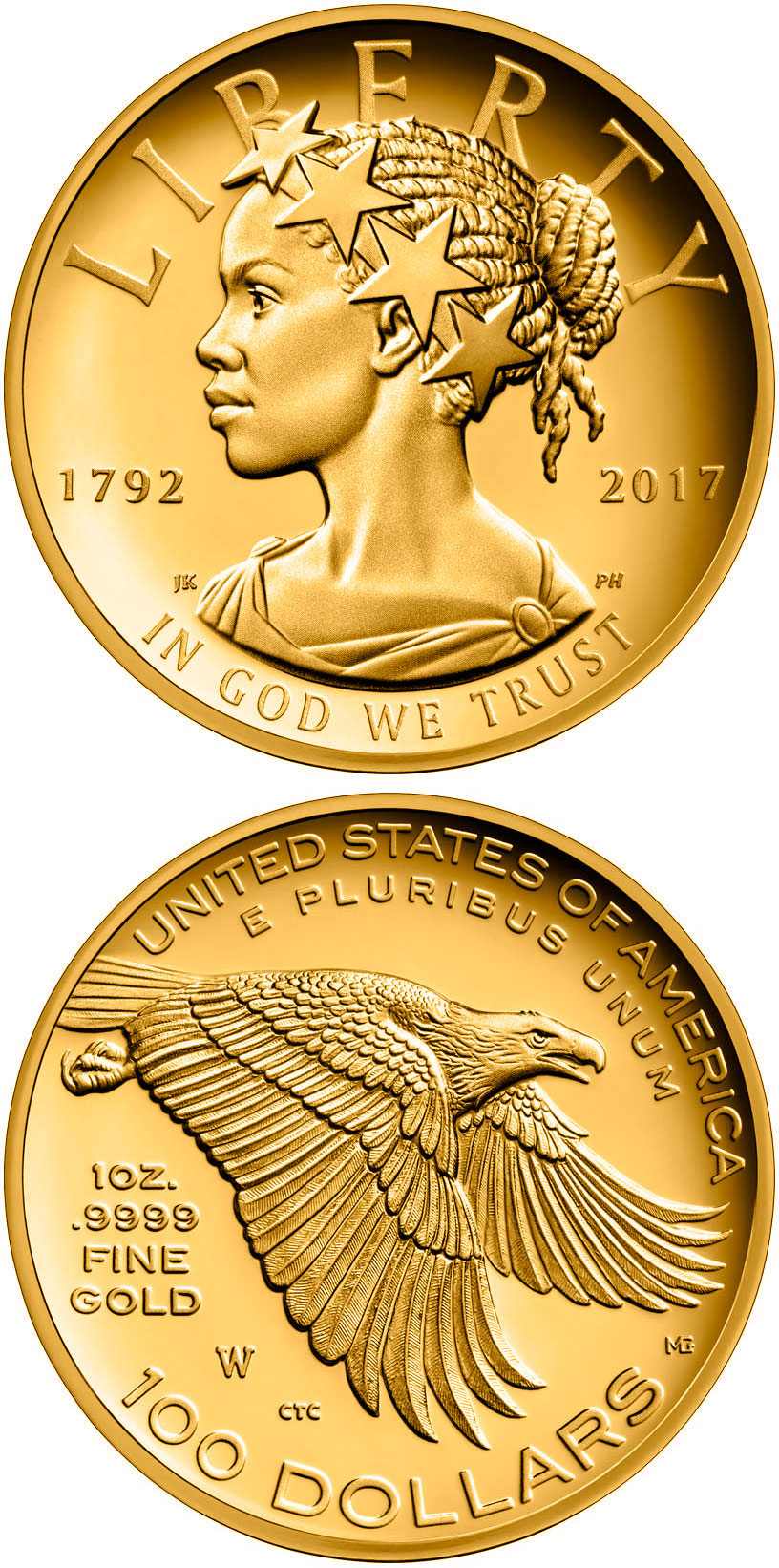 Image of 100 dollars coin – American Liberty 225th Anniversary | USA 2017.  The Gold coin is of Proof quality.