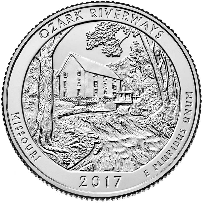 Image of 25 cents coin - Ozark National Scenic Riverways | USA 2017.  The Copper–Nickel (CuNi) coin is of Proof, BU, UNC quality.
