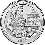 25 cents coin Ellis Island | USA 2017