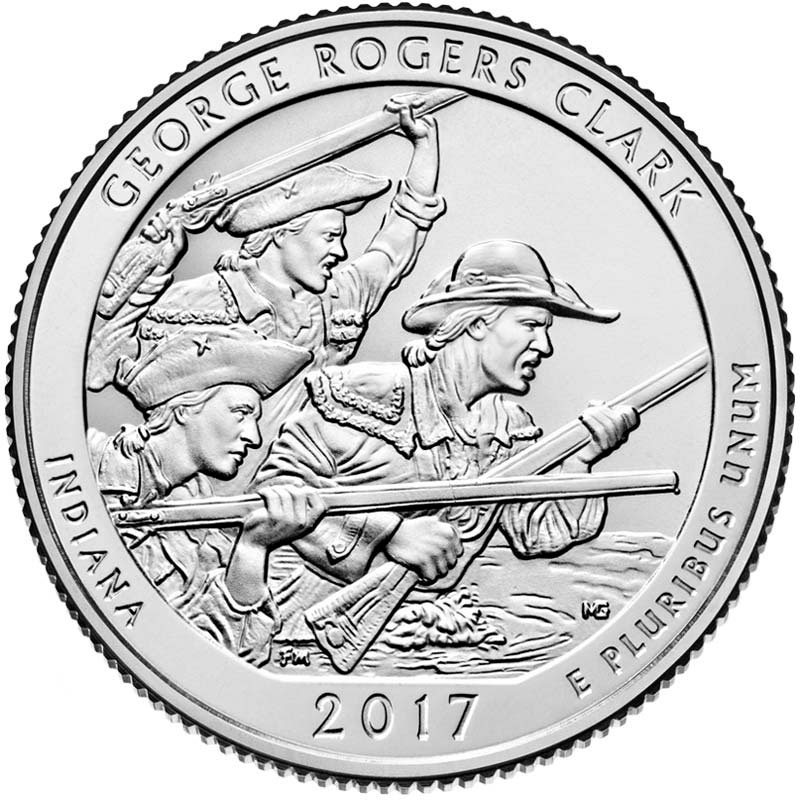 Image of 25 cents coin – George Rogers Clark National Historical Park | USA 2017.  The Copper–Nickel (CuNi) coin is of Proof, BU, UNC quality.
