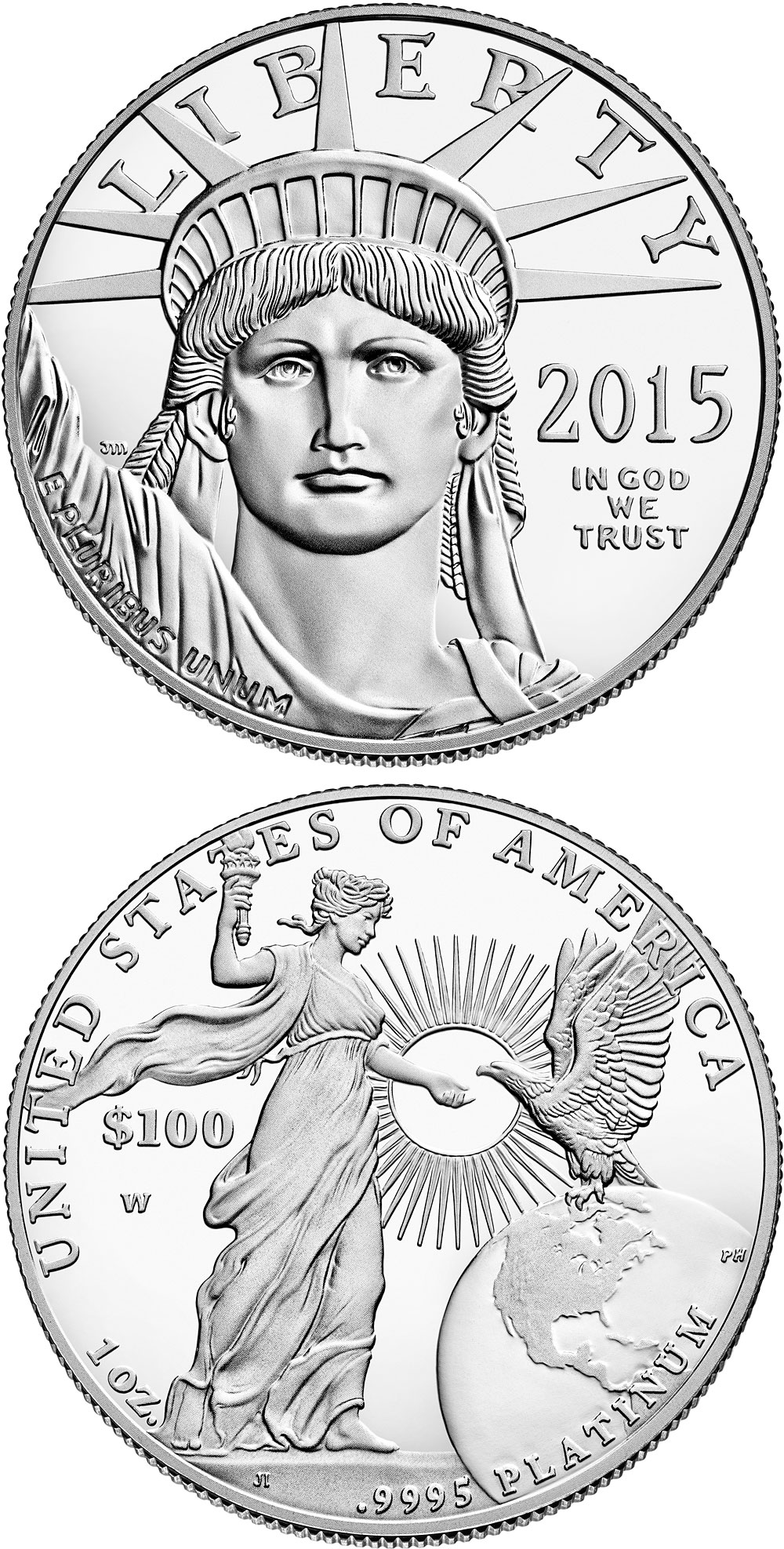 Image of 100 dollars coin - American Eagle Platinum One Ounce Proof Coin | USA 2015