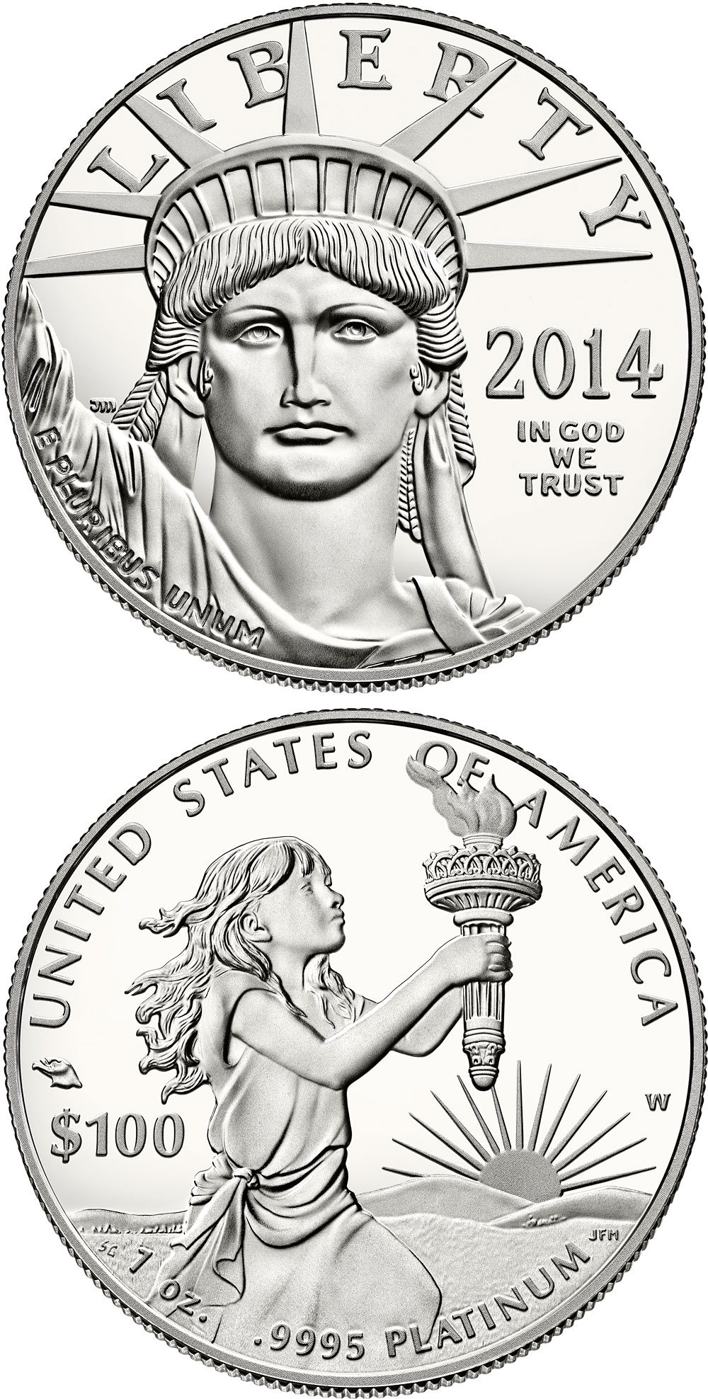 Image of 100 dollars coin - American Eagle Platinum One Ounce Proof Coin | USA 2014