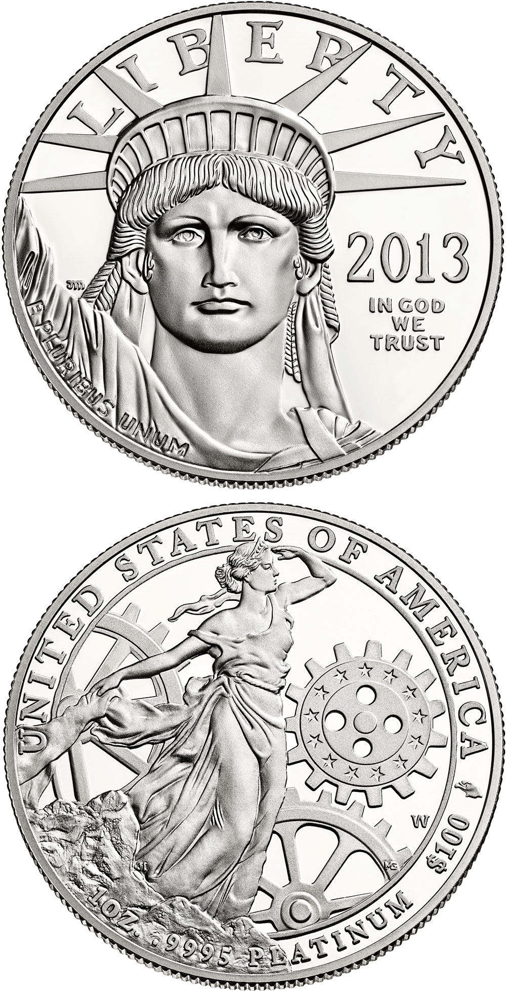 Image of 100 dollars coin - American Eagle Platinum One Ounce Proof Coin | USA 2013