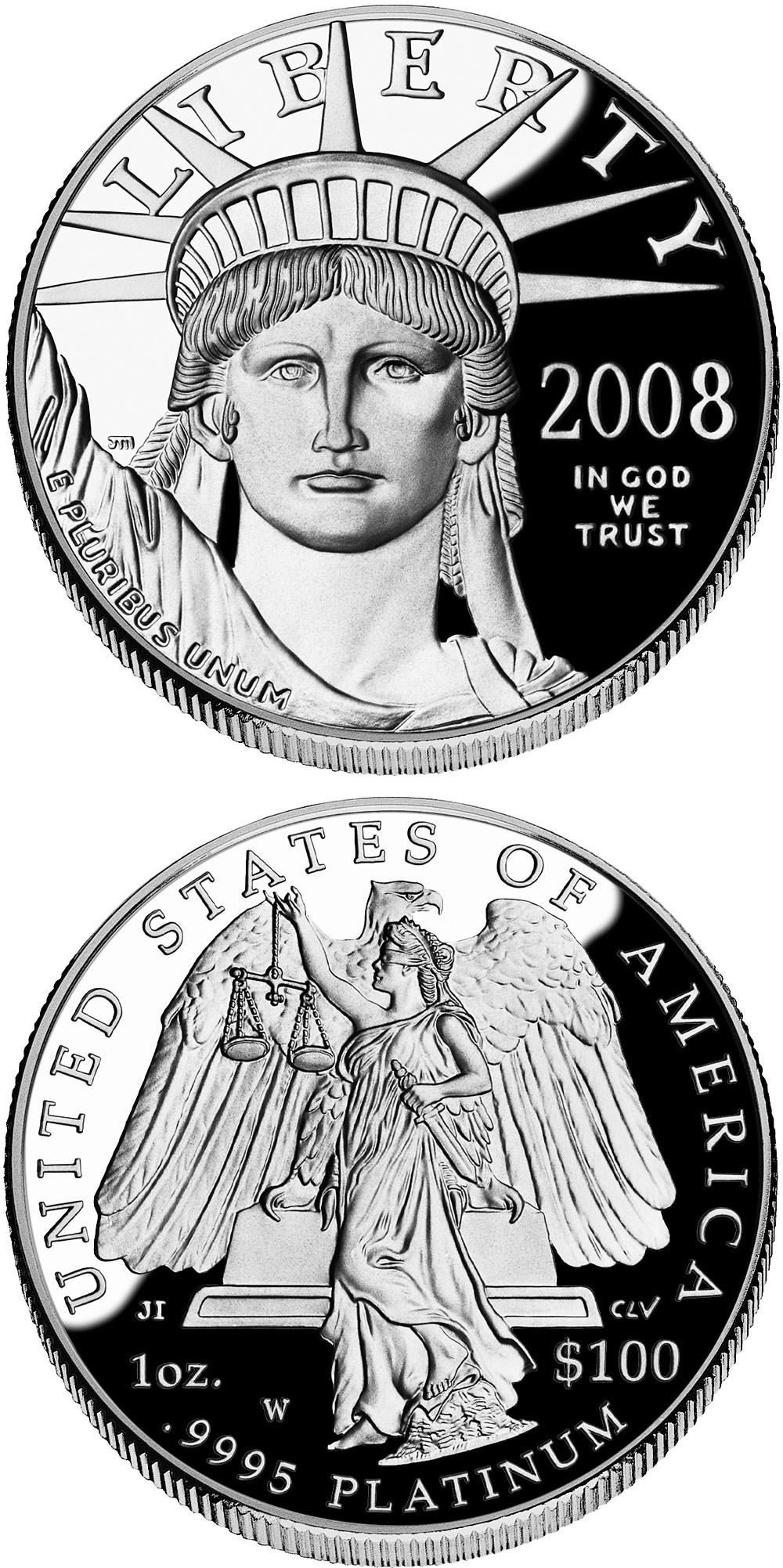 Image of 100 dollars coin - American Eagle Platinum One Ounce Proof Coin | USA 2008