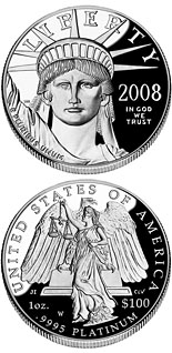 100 dollar coin American Eagle Platinum One Ounce Proof Coin | USA 2008