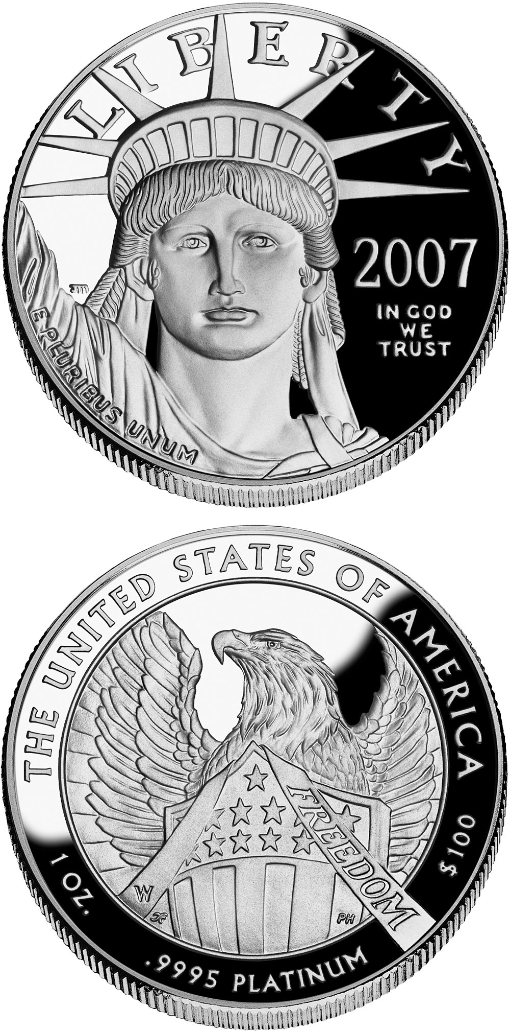 Image of 100 dollars coin - American Eagle Platinum One Ounce Proof Coin | USA 2007