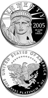 100 dollar coin American Eagle Platinum One Ounce Proof Coin | USA 2005