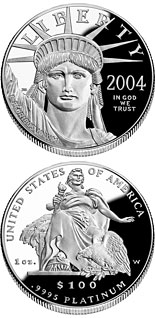 100 dollar coin American Eagle Platinum One Ounce Proof Coin | USA 2004