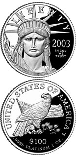 100 dollar coin American Eagle Platinum One Ounce Proof Coin | USA 2003