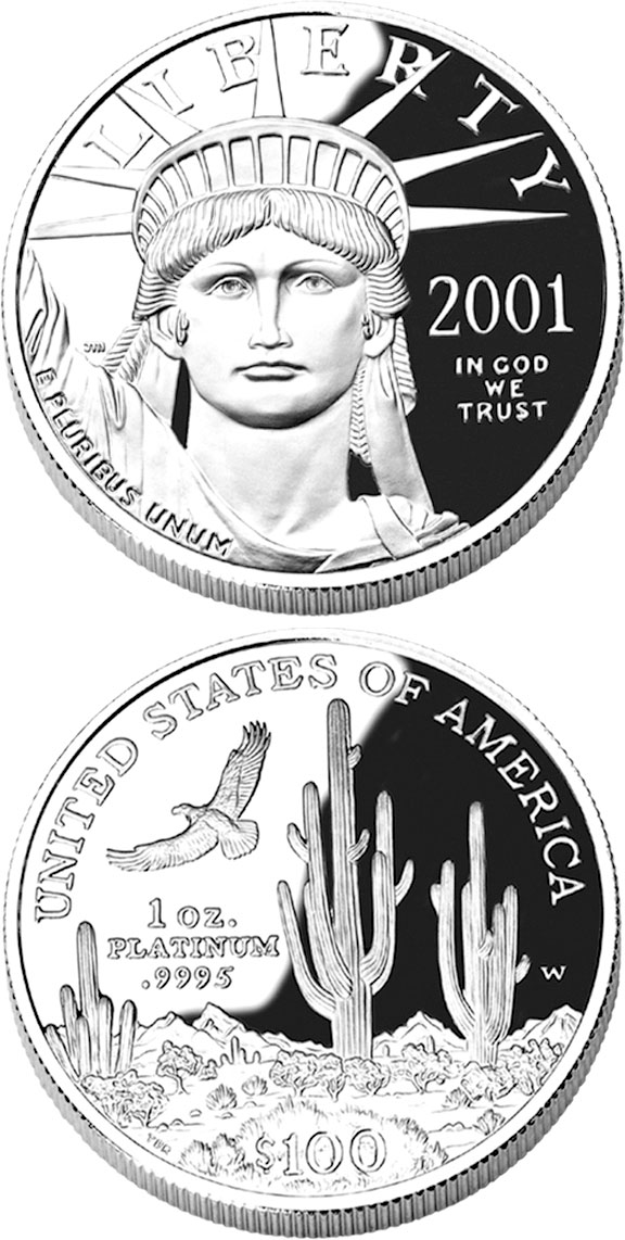 Image of 100 dollars coin - American Eagle Platinum One Ounce Proof Coin | USA 2001