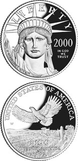 100 dollar coin American Eagle Platinum One Ounce Proof Coin | USA 2000