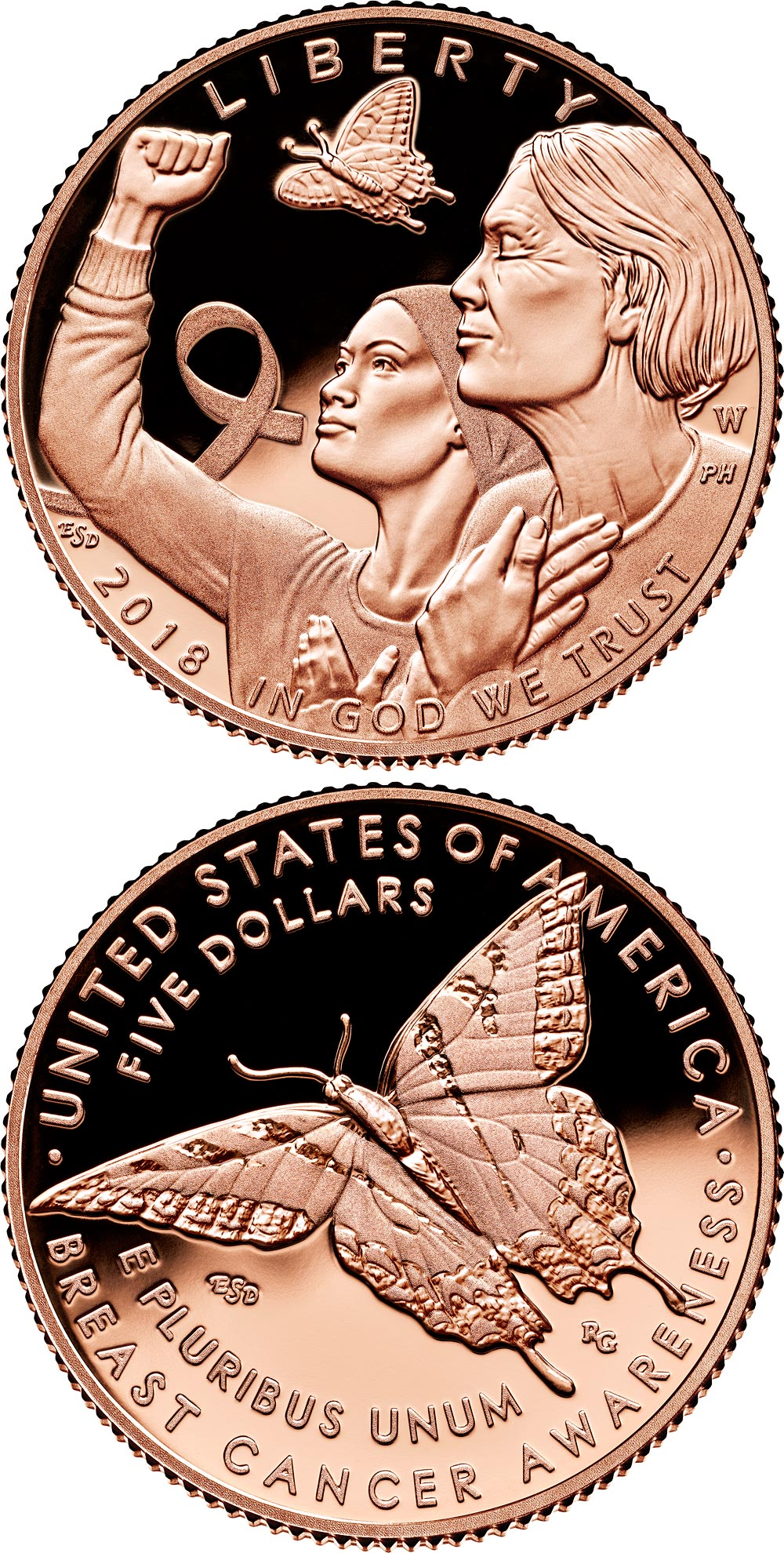 Image of a coin 5 dollars | USA | Breast Cancer Awareness 2018 | 2018