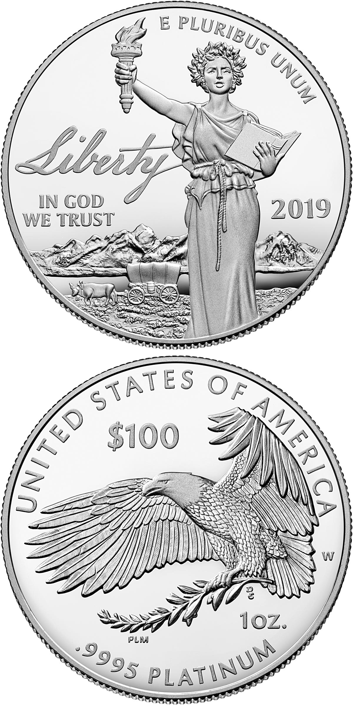 Image of 100 dollars coin – The Liberty | USA 2019.  The Platinum coin is of Proof quality.