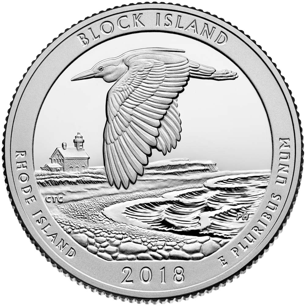 Image of 25 cents coin - Block Island National Wildlife Refuge | USA 2018.  The Copper–Nickel (CuNi) coin is of Proof, BU, UNC quality.