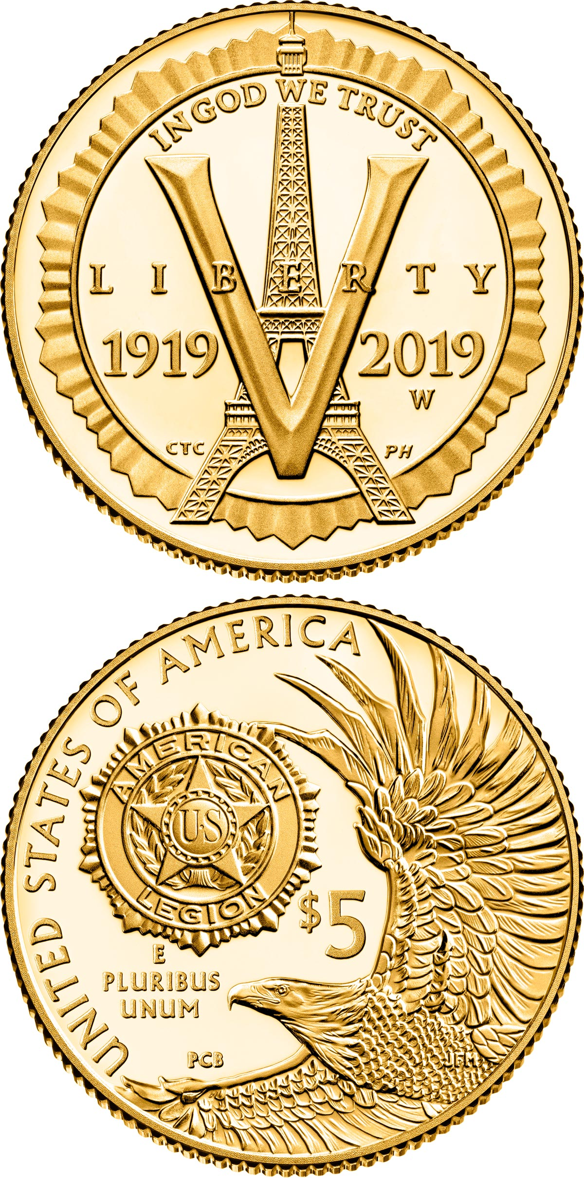 Image of 5 dollars coin – American Legion 100th Anniversary | USA 2019.  The Gold coin is of Proof, BU quality.