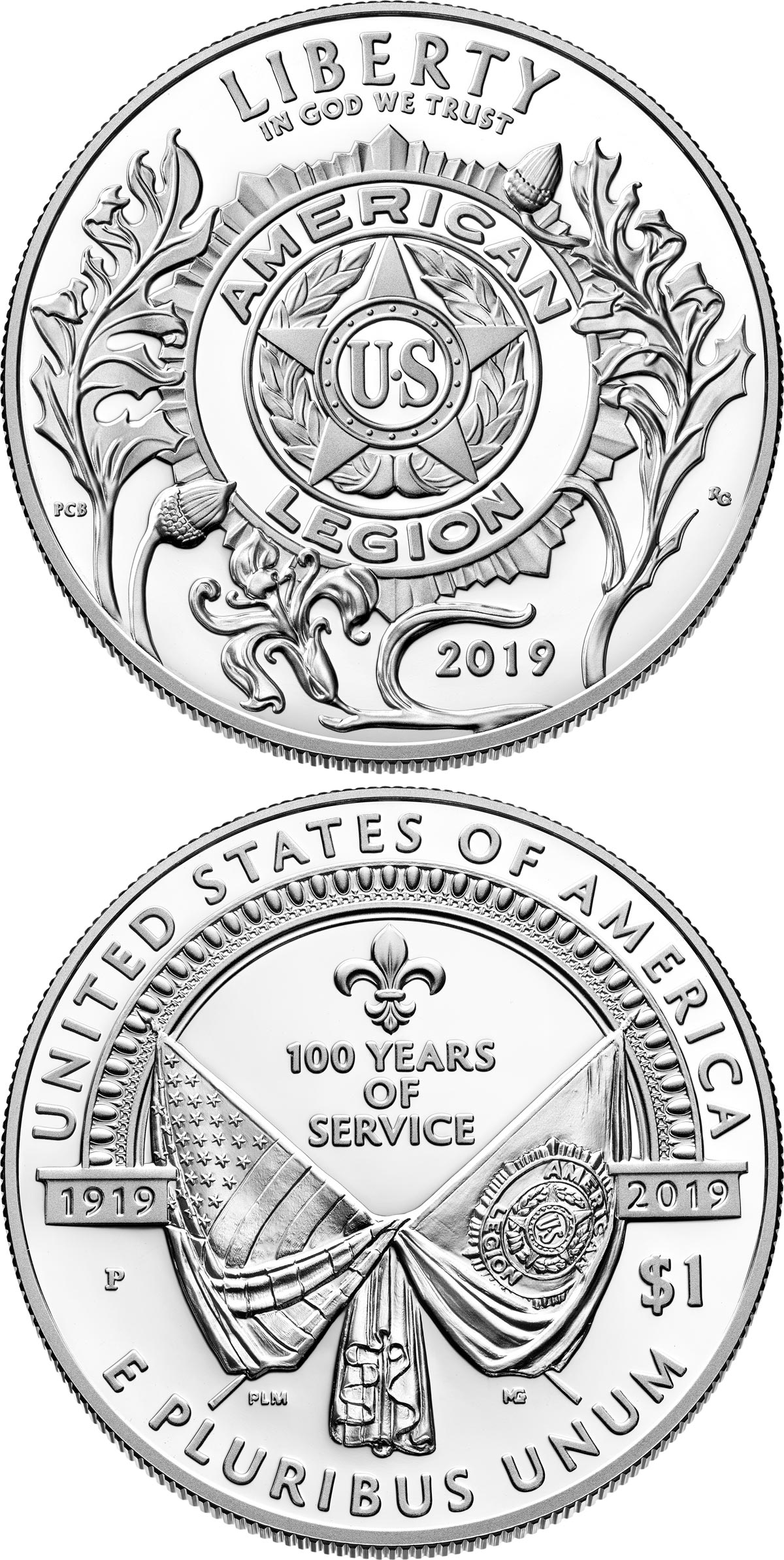 Image of 1 dollar coin – American Legion 100th Anniversary | USA 2019.  The Silver coin is of Proof, BU quality.