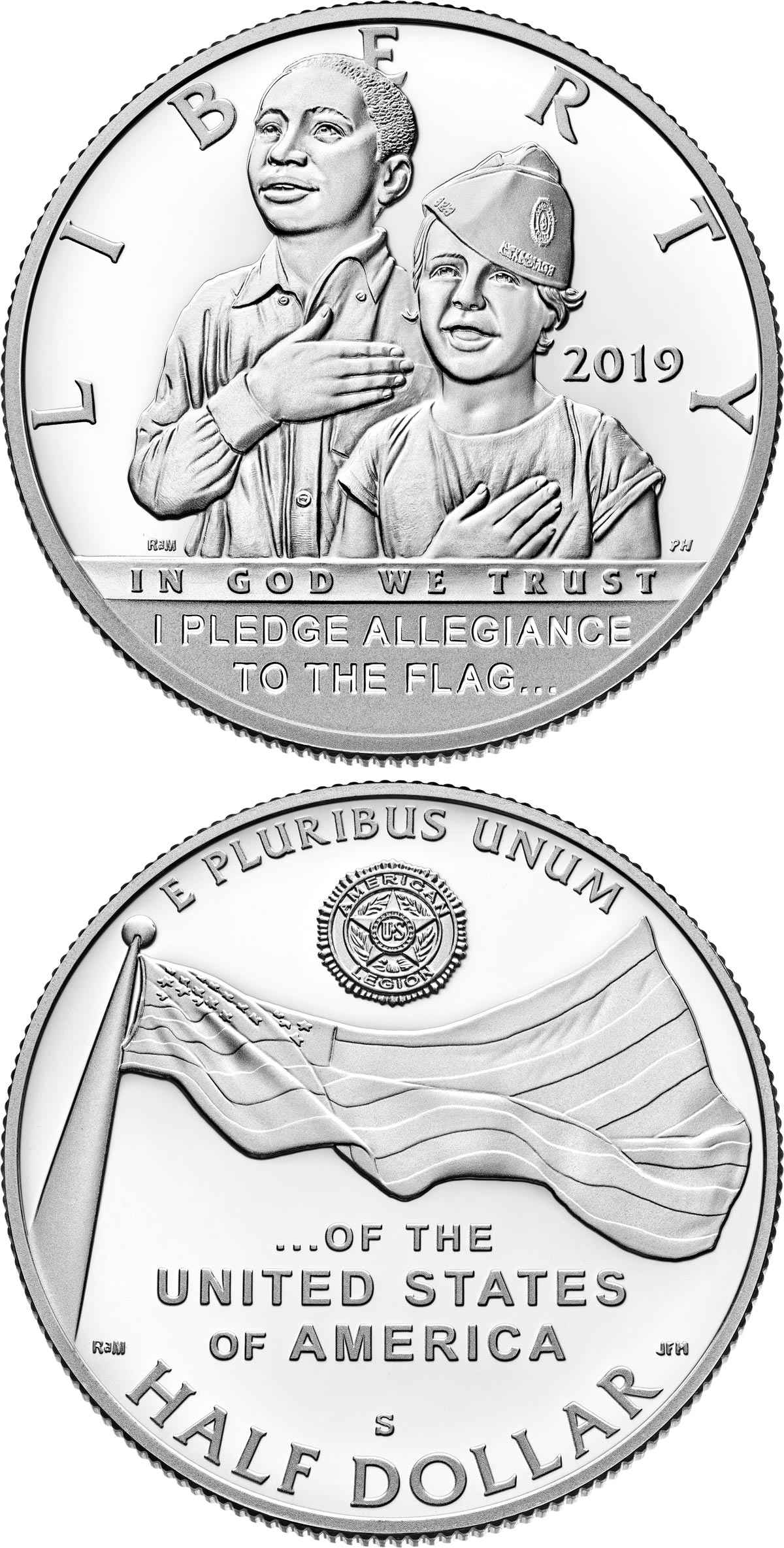 Image of 0.5 dollar coin – American Legion 100th Anniversary | USA 2019.  The Copper–Nickel (CuNi) coin is of Proof, BU quality.