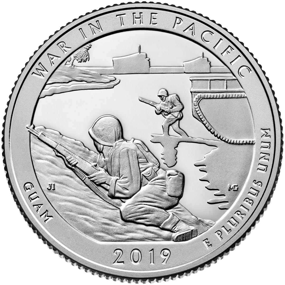 Image of 25 cents coin - War in the Pacific National Historical Park | USA 2019.  The Copper–Nickel (CuNi) coin is of Proof, BU, UNC quality.