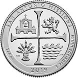 25 cents coin San Antonio Missions National Historical Park | USA 2019