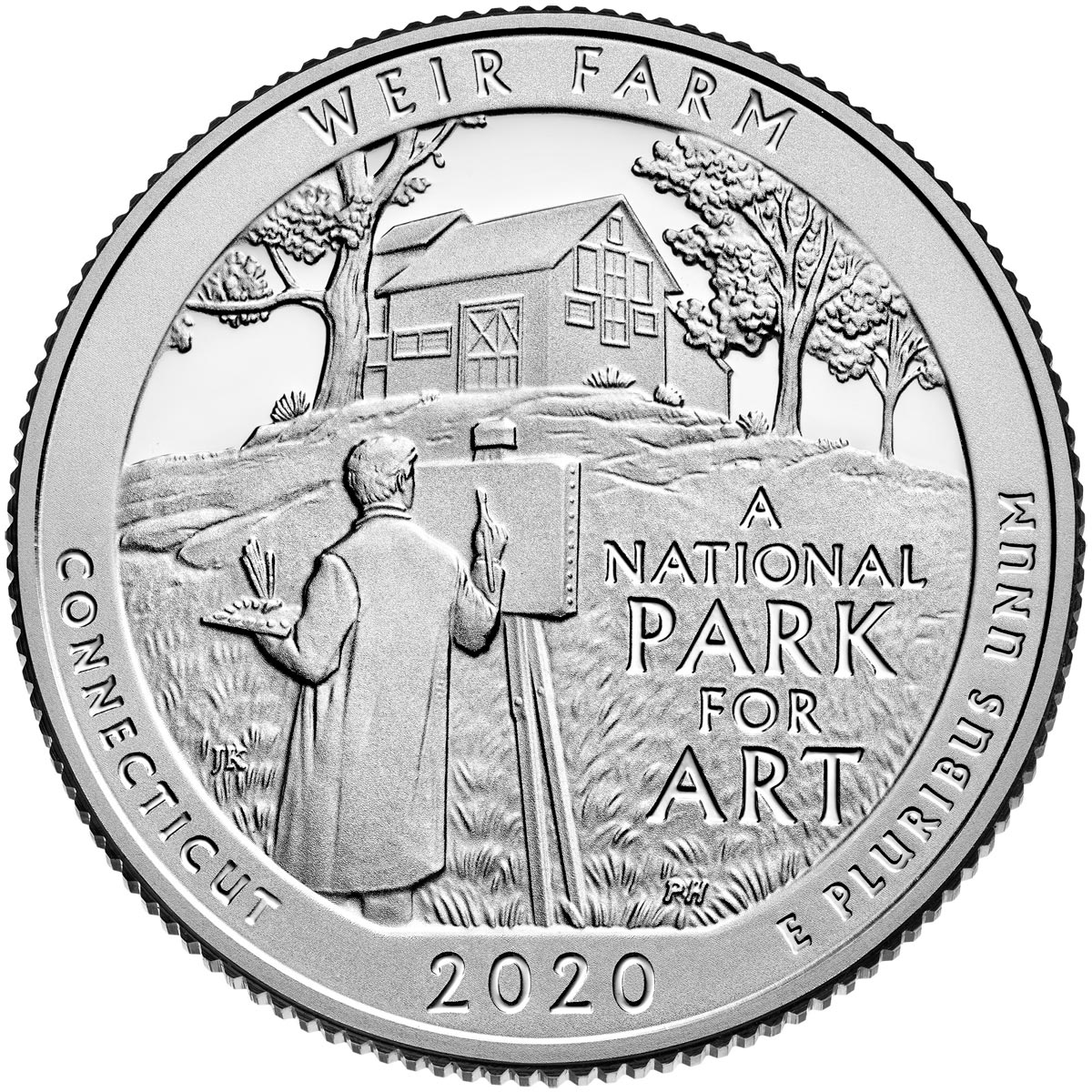 Image of 25 cents coin - Weir Farm National Historic Site | USA 2020.  The Copper–Nickel (CuNi) coin is of Proof, BU, UNC quality.