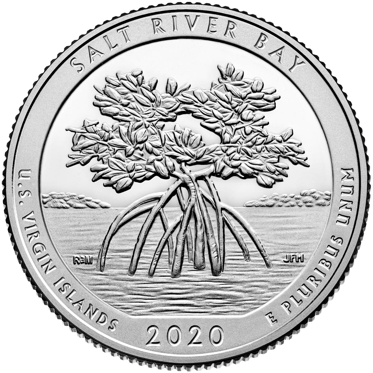 Image of 25 cents coin - Salt River Bay National Historical Park and Ecological Preserve | USA 2020.  The Copper–Nickel (CuNi) coin is of Proof, BU, UNC quality.