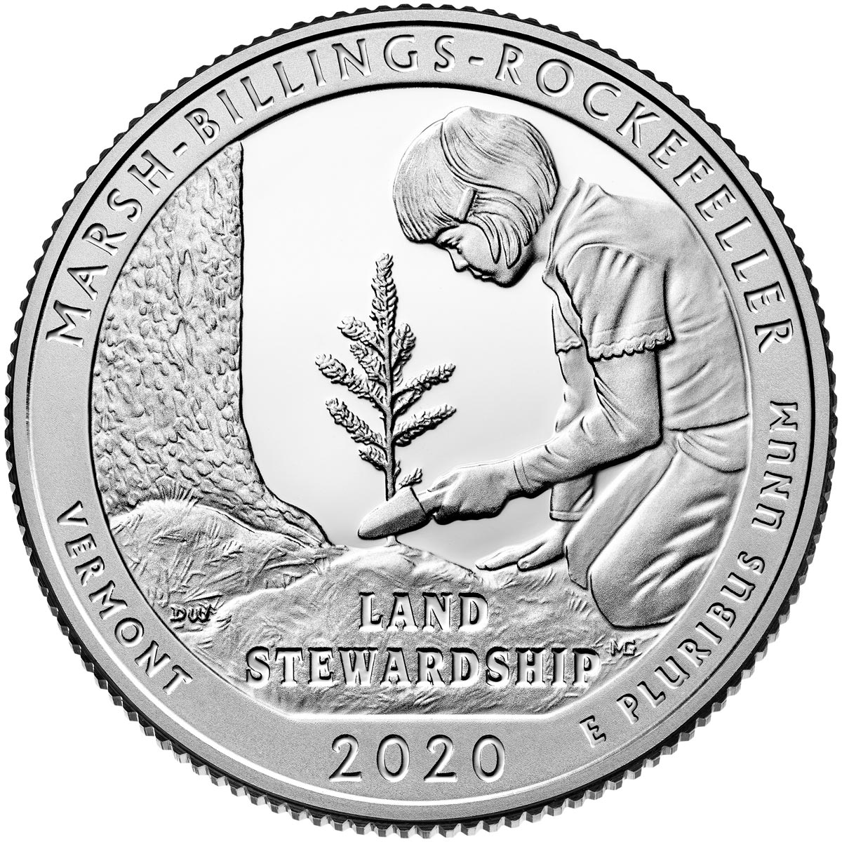 Image of 25 cents coin - Marsh-Billings-Rockefeller National Historical Park | USA 2020.  The Copper–Nickel (CuNi) coin is of Proof, BU, UNC quality.