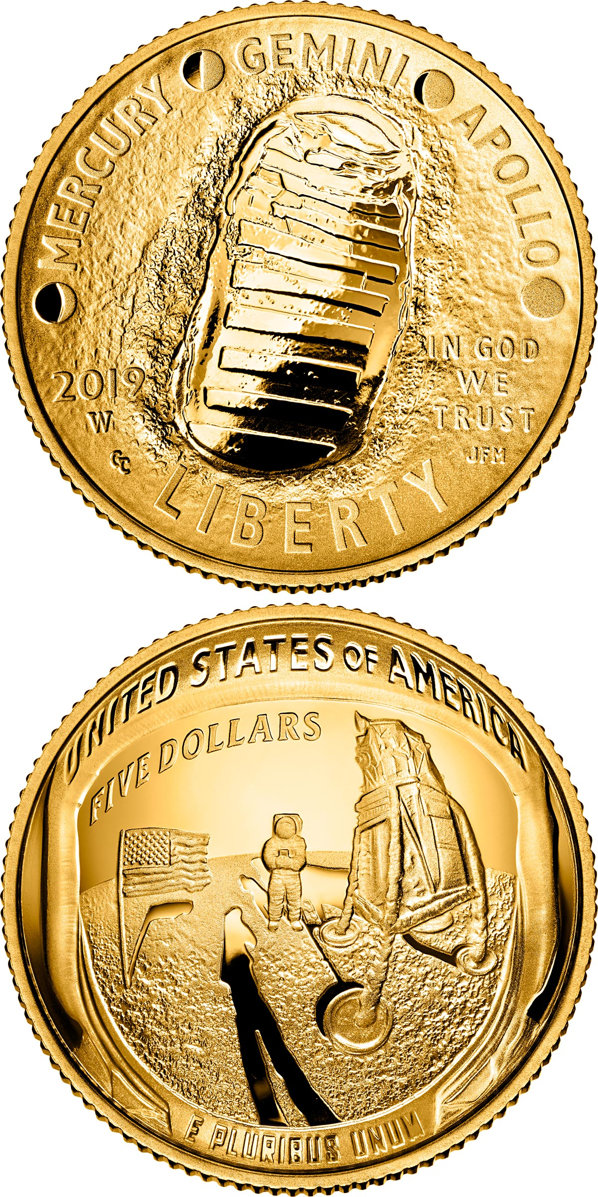 Image of 5 dollars coin - Apollo 11 50th Anniversary | USA 2019.  The Gold coin is of Proof, BU quality.