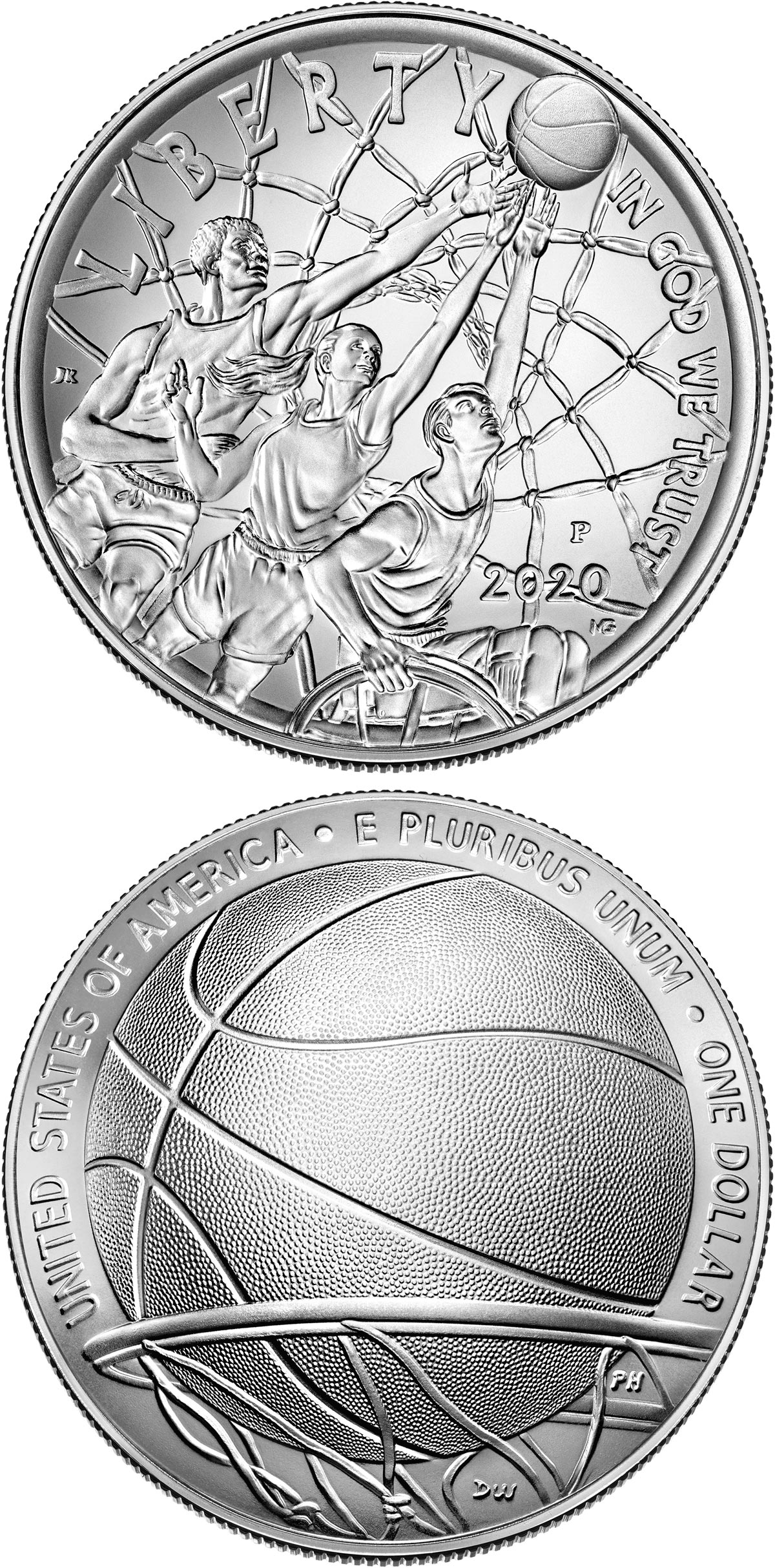 Image of 1 dollar coin - Basketball Hall of Fame | USA 2020.  The Silver coin is of Proof, BU quality.