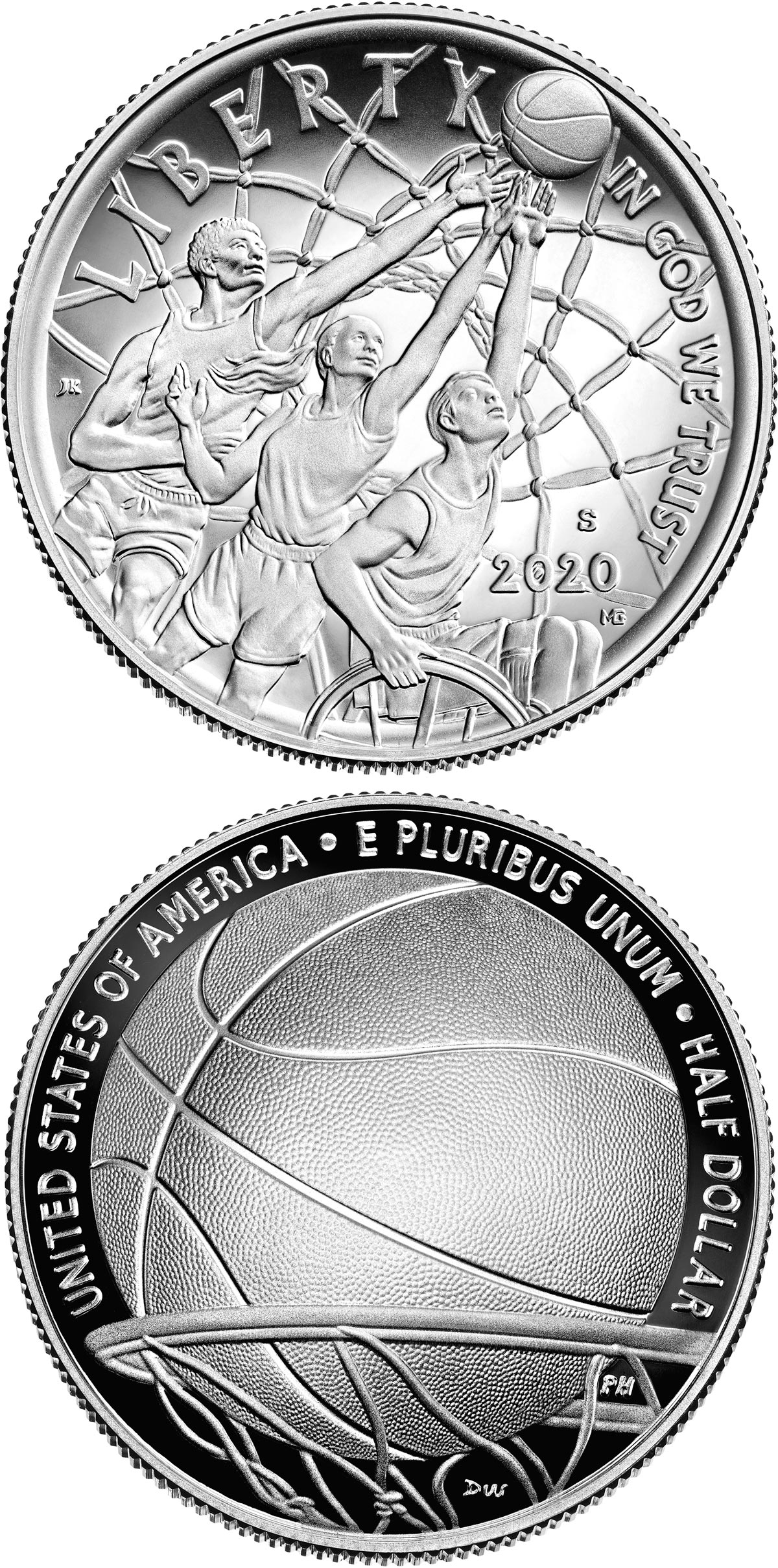 Image of 0.5 dollar coin - Basketball Hall of Fame | USA 2020.  The Copper–Nickel (CuNi) coin is of Proof, BU quality.
