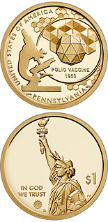 1 dollar coin Pennsylvania - The creation of a vaccine to prevent polio | USA 2019