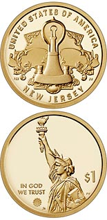 1 dollar coin New Jersey - The Development of a Lightbulb | USA 2019
