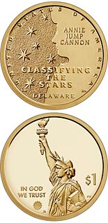 1 dollar coin Delaware -  The System for Slassifying the Stars - Annie Jump Cannon  | USA 2019
