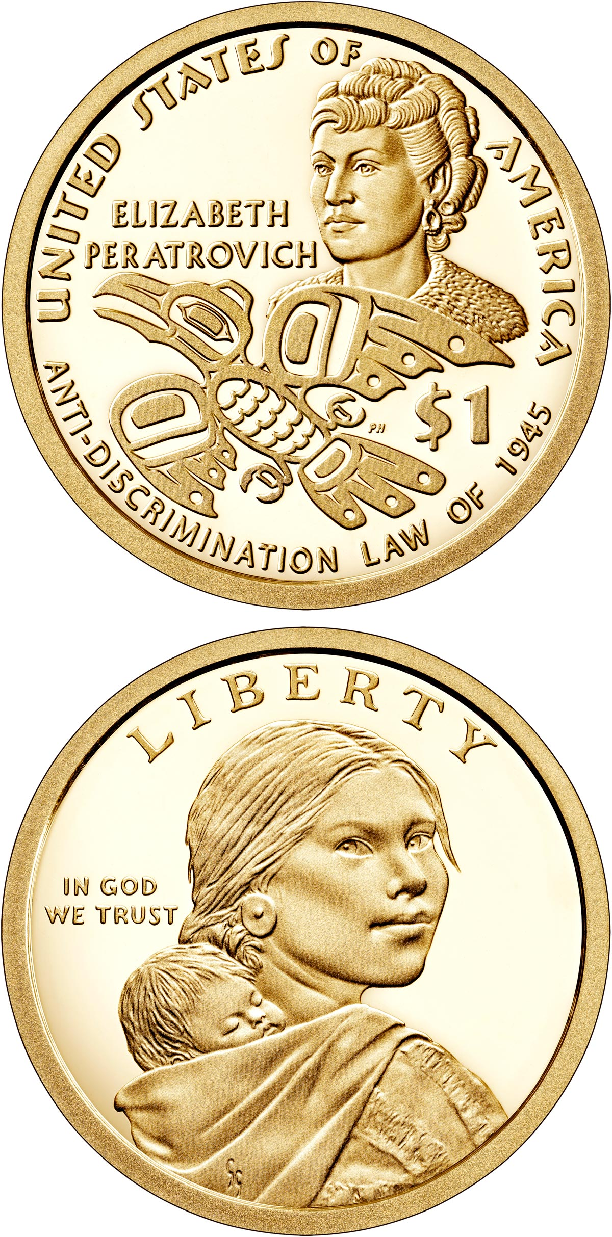 Image of 1 dollar coin - Elizabeth Peratrovich and Alaska's Anti-Discrimination Law | USA 2020.  The Nordic gold (CuZnAl) coin is of Proof, UNC quality.