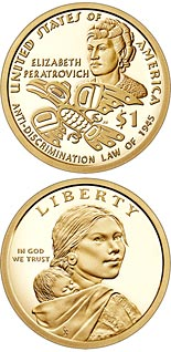 1 dollar coin Elizabeth Peratrovich and Alaska's Anti-Discrimination Law | USA 2020