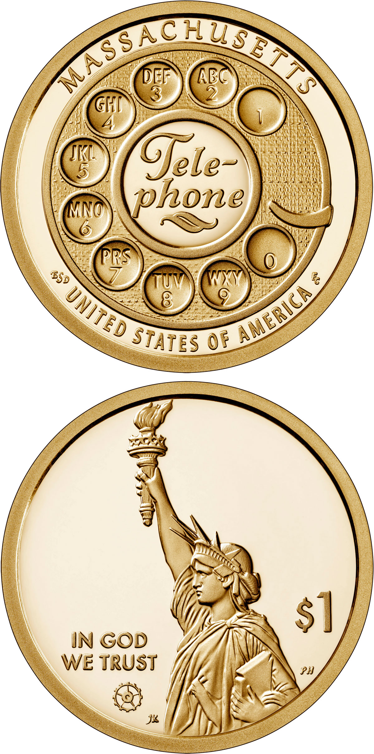 Image of 1 dollar coin - Massachusetts - the invention of the telephone | USA 2020.  The Nordic gold (CuZnAl) coin is of Proof, BU, UNC quality.